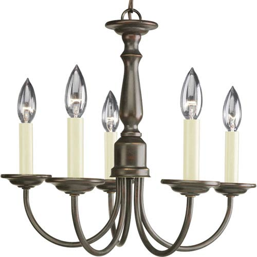 Progress Lighting Five Light Antique Bronze Five-Light Chandelier with Ivory Finish Candle Sleeves