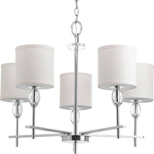 P4141-15 Status Polished Chrome Five-Light 28-Inch Chandelier