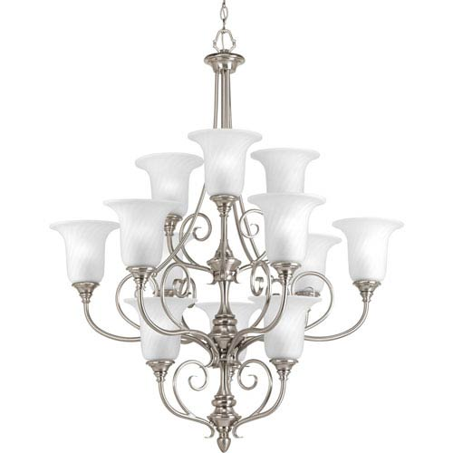 Kensington Brushed Nickel 12-Light Chandelier with Swirled Etched Glass and Trumpet Shaped Shades