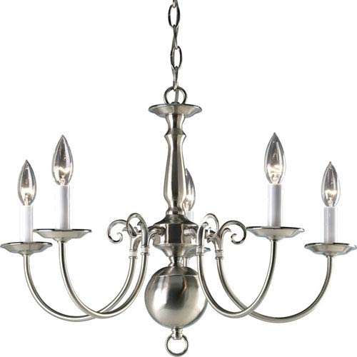 Progress Lighting Americana Brushed Nickel Five-Light 23.5-Inch Chandelier with White Finish Candle Sleeves