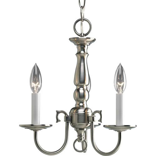 Progress Lighting Americana Brushed Nickel Three-Light Chandelier with White Finish Candle Sleeves