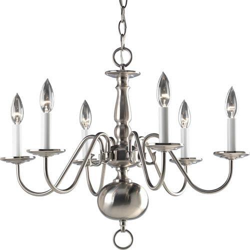 Progress Lighting Americana Brushed Nickel Six-Light Chandelier with White Finish Candle Sleeves