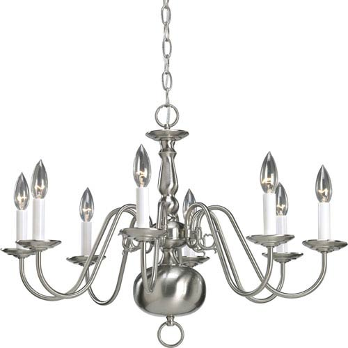 Americana Brushed Nickel Eight-Light Chandelier with White Finish Candle Sleeves