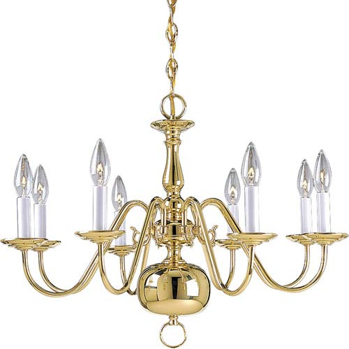 P4357-10:  Americana Polished Brass Eight-Light Chandelier