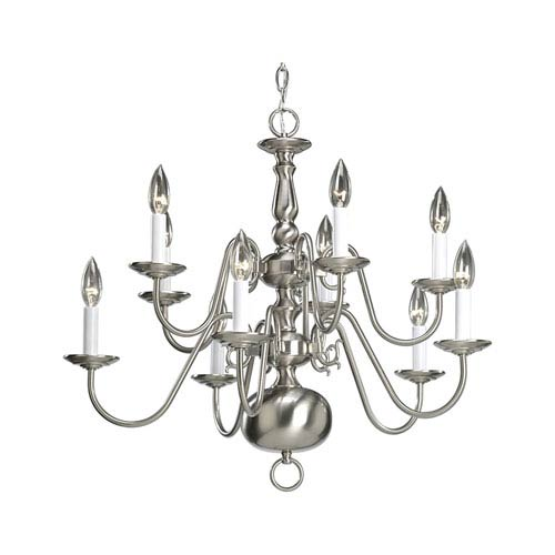Progress Lighting Americana Brushed Nickel Ten-Light Chandelier with White Finish Candle Sleeves