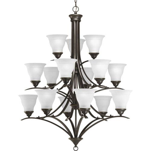 Trinity Antique Bronze 15-Light Chandelier with Etched Glass Shades