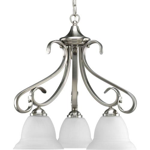 Progress Lighting Torino Brushed Nickel Three-Light 21.62-Inch Chandelier with Etched Glass Shade