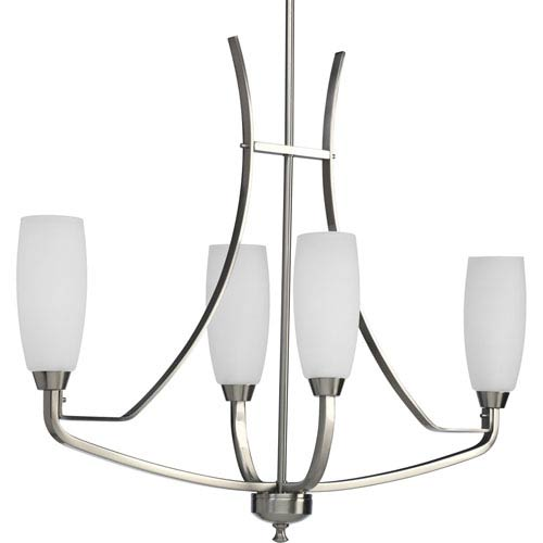 Progress Lighting Wisten Brushed Nickel Four-Light Chandelier with Etched Glass Tulip Shaped Shades