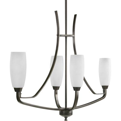 Progress Lighting Wisten Antique Bronze Four-Light Chandelier with Etched Glass Tulip Shaped Shades