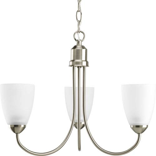 Progress Lighting Gather Brushed Nickel Three-Light CFL Chandelier with Etched Glass Shade