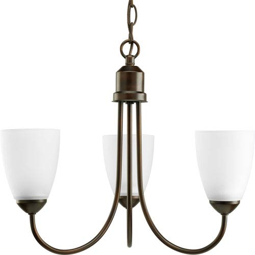 Progress Lighting Gather Antique Bronze Three-Light Medium Base Chandelier with Etched Glass Shade