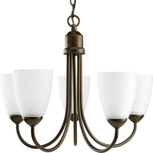 Progress Lighting Gather Antique Bronze Five-Light Medium Base Chandelier with Etched Glass Shade