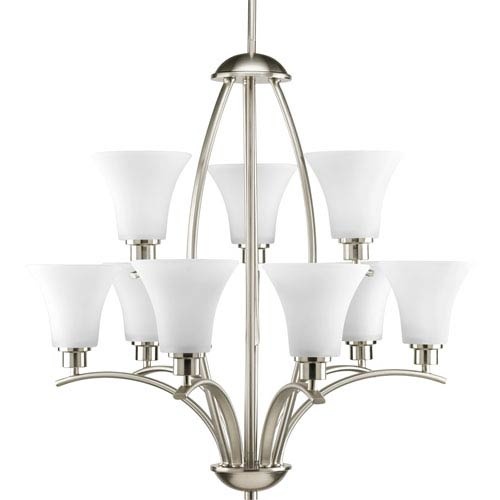Joy Brushed Nickel Nine-Light Chandelier with Etched Glass Shade