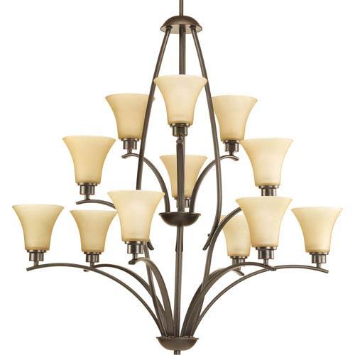 Joy Antique Bronze 12-Light Chandelier with Etched Light Umber Glass Shades