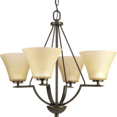 Progress Lighting Bravo Antique Bronze Four-Light Chandelier with Umber Linen Glass Shades
