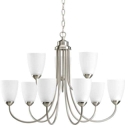 Gather Brushed Nickel Nine-Light Medium Base Chandelier with Etched Glass Shade
