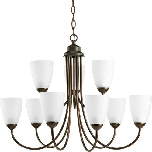 Gather Antique Bronze Nine-Light Compact Fluorescent Chandelier with Etched Glass Shade