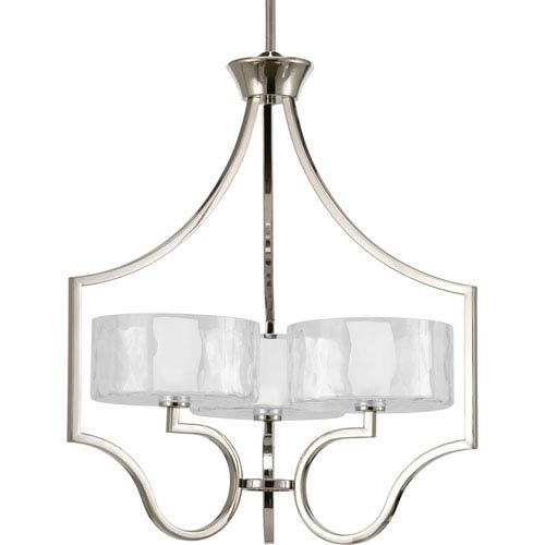 Progress Lighting Caress Polished Nickel Three-Light Chandelier with Glass Diffuser