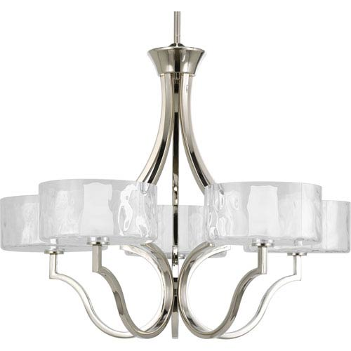 Progress Lighting Caress Polished Nickel Five Light Chandelier With ...