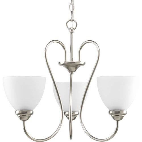 Progress Lighting Heart Brushed Nickel Three-Light 22-Inch Chandelier with Etched Glass Shade