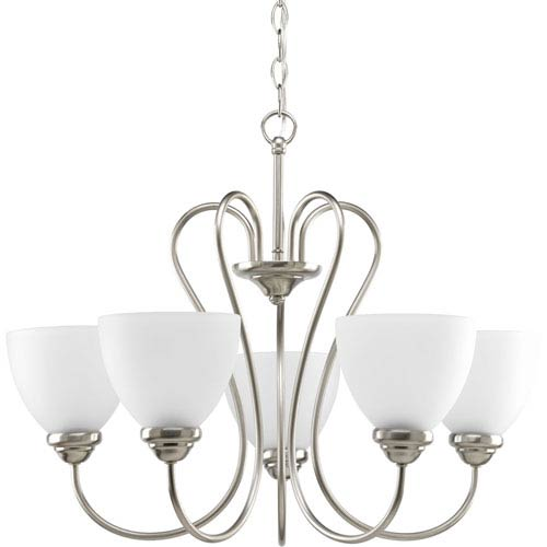 Progress Lighting Heart Brushed Nickel Five-Light 25.5-Inch Chandelier with Etched Glass Shade