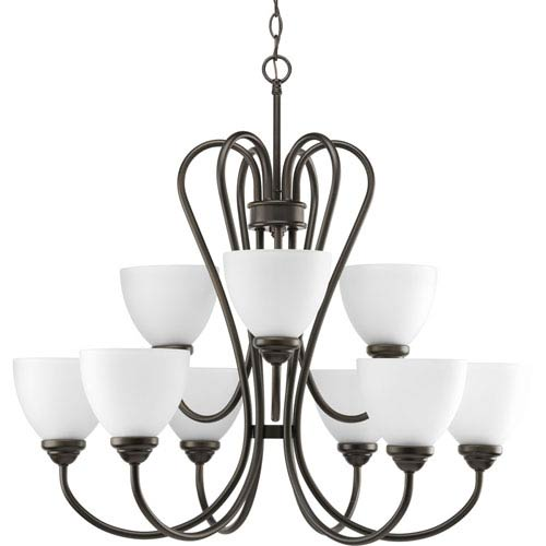 Progress Lighting Heart Antique Bronze Nine-Light 30-Inch Chandelier with Etched Glass Shade