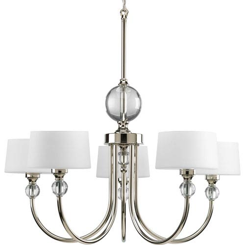 Fortune Polished Nickel Five-Light Chandelier with Opal Etched Glass Drum Shades