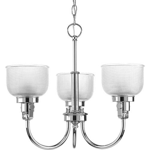Archie Polished Chrome Three-Light Chandelier with Clear Prismatic Glass