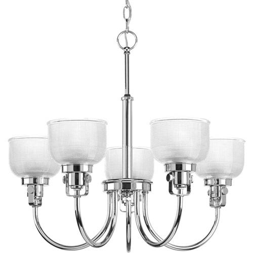 Progress Lighting Archie Polished Chrome Five-Light Chandelier with Clear Prismatic Glass