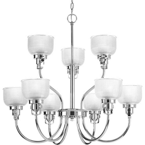 Progress Lighting Archie Polished Chrome Nine-Light Chandelier with Clear Prismatic Glass