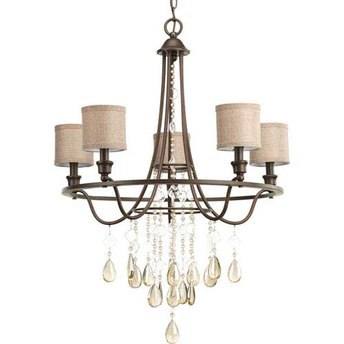 P4805-72 Flourish Cognac Five-Light 26-Inch Chandelier