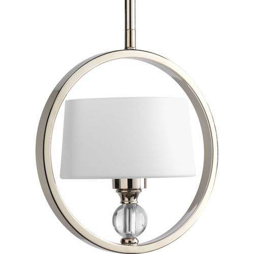 Progress Lighting Fortune Polished Nickel One-Light Mini-Pendant with Opal Etched Glass Drum Shades