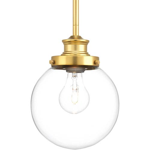 P5067-137 Penn Natural Brass 7-Inch One-Light Globe Mini Pendant