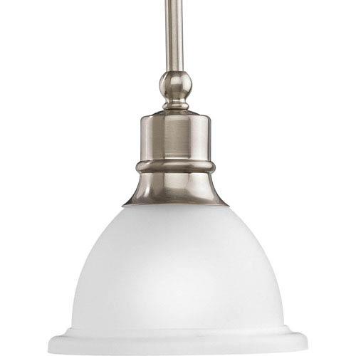 P5078-09:  Madison Brushed Nickel White Etched Mini Pendant