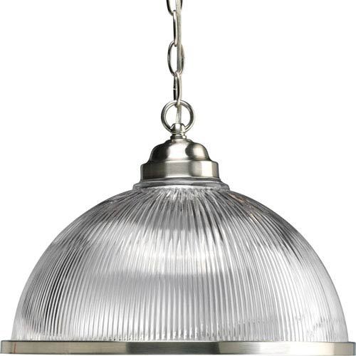 Prismatic Glass Brushed Nickel 42-Inch One-Light Pendant with Clear Prismatic Glass
