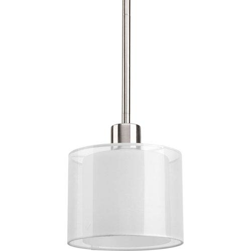 Invite Brushed Nickel One-Light Mini Pendant with White Silk Mylar Shade