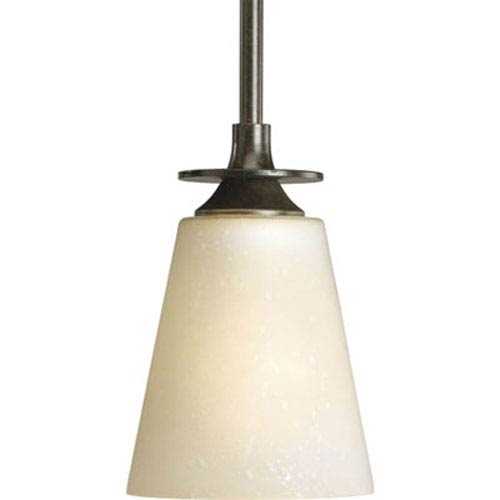 Progress Lighting Cantata Forged Bronze One-Light Mini-Pendant with Seeded Topaz Glass