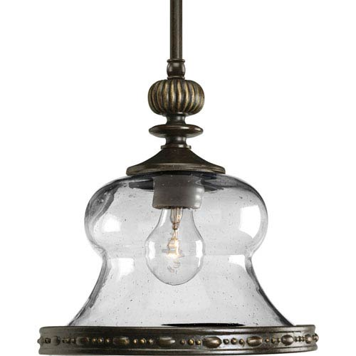 P5140-77:  Fiorentino Forged Bronze Clear Seeded Mini Pendant