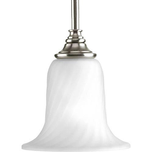 Progress Lighting Kensington Brushed Nickel One-Light Mini Pendant with Swirled Etched Glass Trumpet Shaped Shade