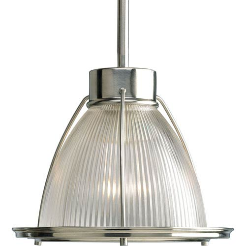 Glass Pendant Brushed Nickel 50-Inch One-Light Mini Pendant with Clear Prismatic Glass