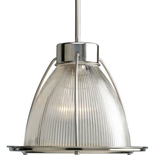 Progress Lighting Glass Pendant Brushed Nickel 53-Inch One-Light Mini Pendant with Clear Prismatic Glass