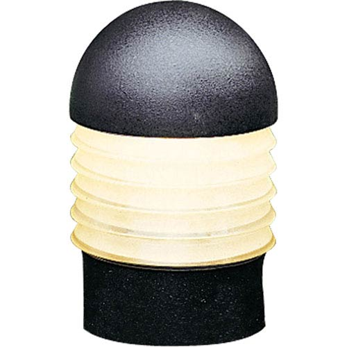 Bollard Black One-Light Landscape with Etched Glass