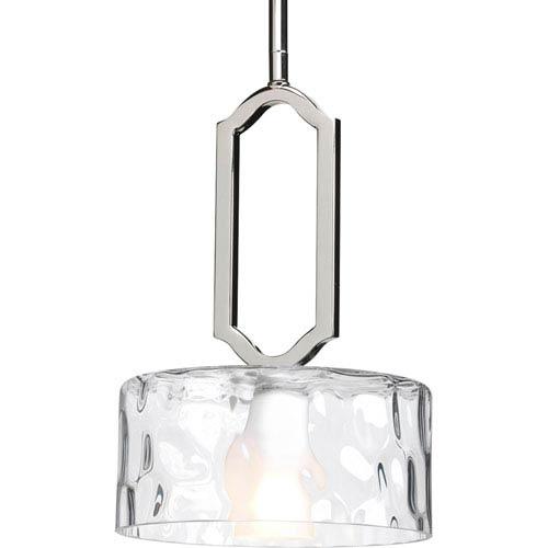 Progress Lighting Caress Polished Nickel One-Light Mini-Pendant with Glass Diffuser