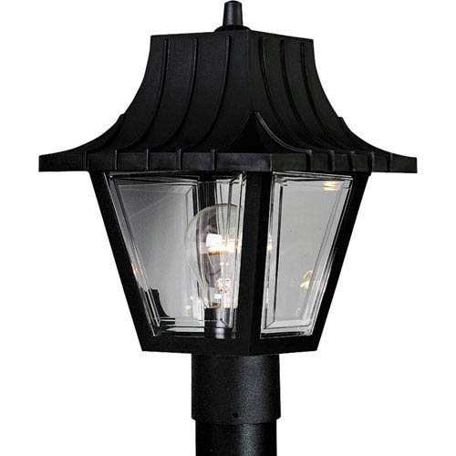 Progress Lighting Mansard Textured Black One-Light Outdoor Post Light