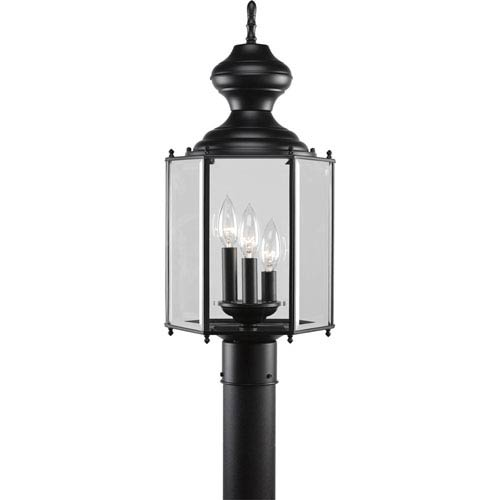 BrassGUARD Lantern Black Three-Light Outdoor with Clear beveled Glass