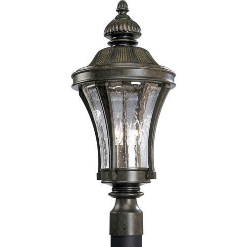 P5438-77:  Nottington Forged Bronze Three-Light Outdoor Post Mounted Lantern