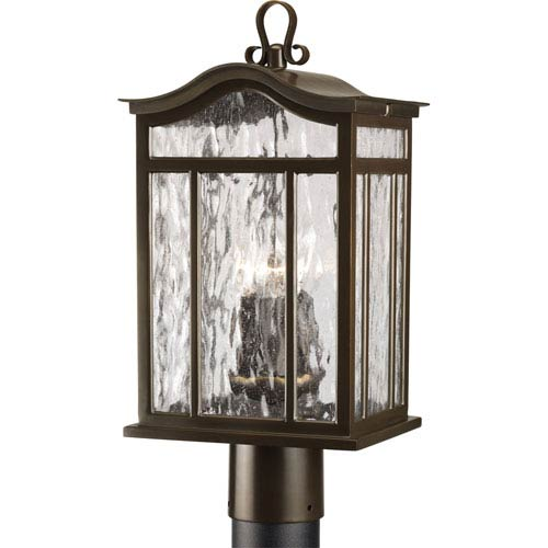Progress Lighting Meadowlark Oil Rubbed Bronze Three-Light Outdoor with Water Seeded Glass