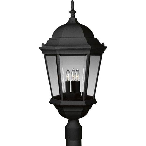 P5483-31:  Welbourne Textured Black Three-Light Outdoor Post Mounted Lantern