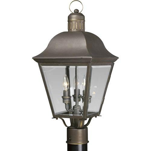 P5487-20:  Andover Antique Bronze Three-Light Outdoor Post Mounted Lantern