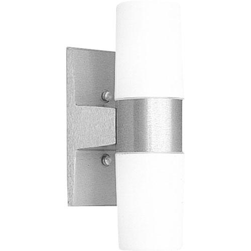 P5512-16:  Satin Aluminum Two-Light Opal Outdoor Wall Lantern